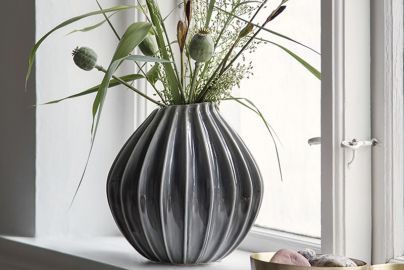 Broste Wide vase - Smoked pearl - 25cm