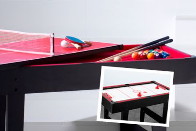 Airhockey, pool og bordtennis i ét bord