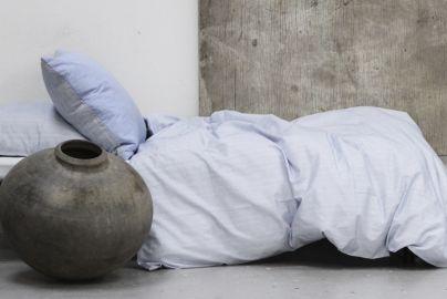OMHU Økologisk sengetøj - blå - 2 sæt med 4 pudebetræk
