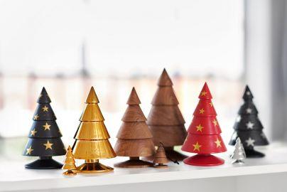 Happy Xmas rødt juletræ - guldstjerner