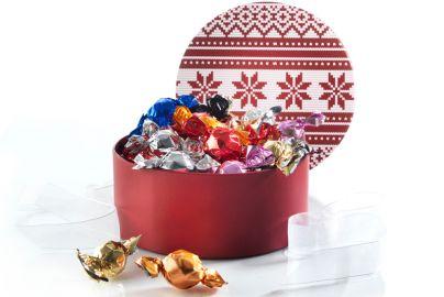 Hatteæske fyldt med chokoladekugler - 300g
