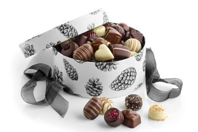 Hatteæske kogler m. luksus chokolade 1000g