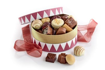 Hatteæske tromme m. luksus chokolade 500g
