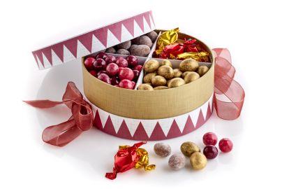 Hatteæske tromme m. nødder og karameller 1000g