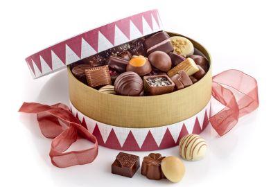 Hatteæske tromme m. luksus chokolade 1000g
