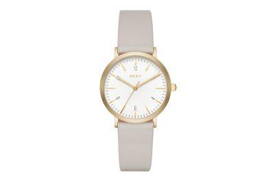 DKNY Minetta dame ur med lys læder rem