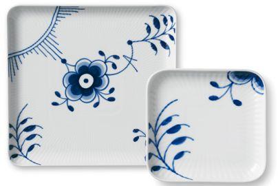 Royal Copenhagen blå mega firkantet plate 2 stk