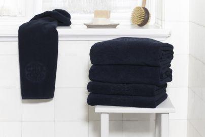 GJD ØKO håndklæder Monogram kongeblå 2 + 2 stk