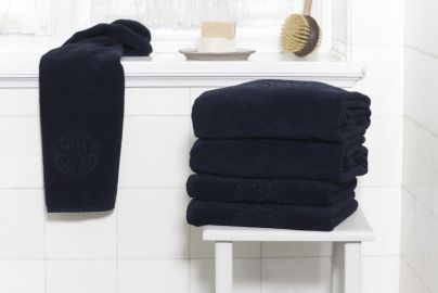 GJD ØKO håndklæder Monogram kongeblå 4+4